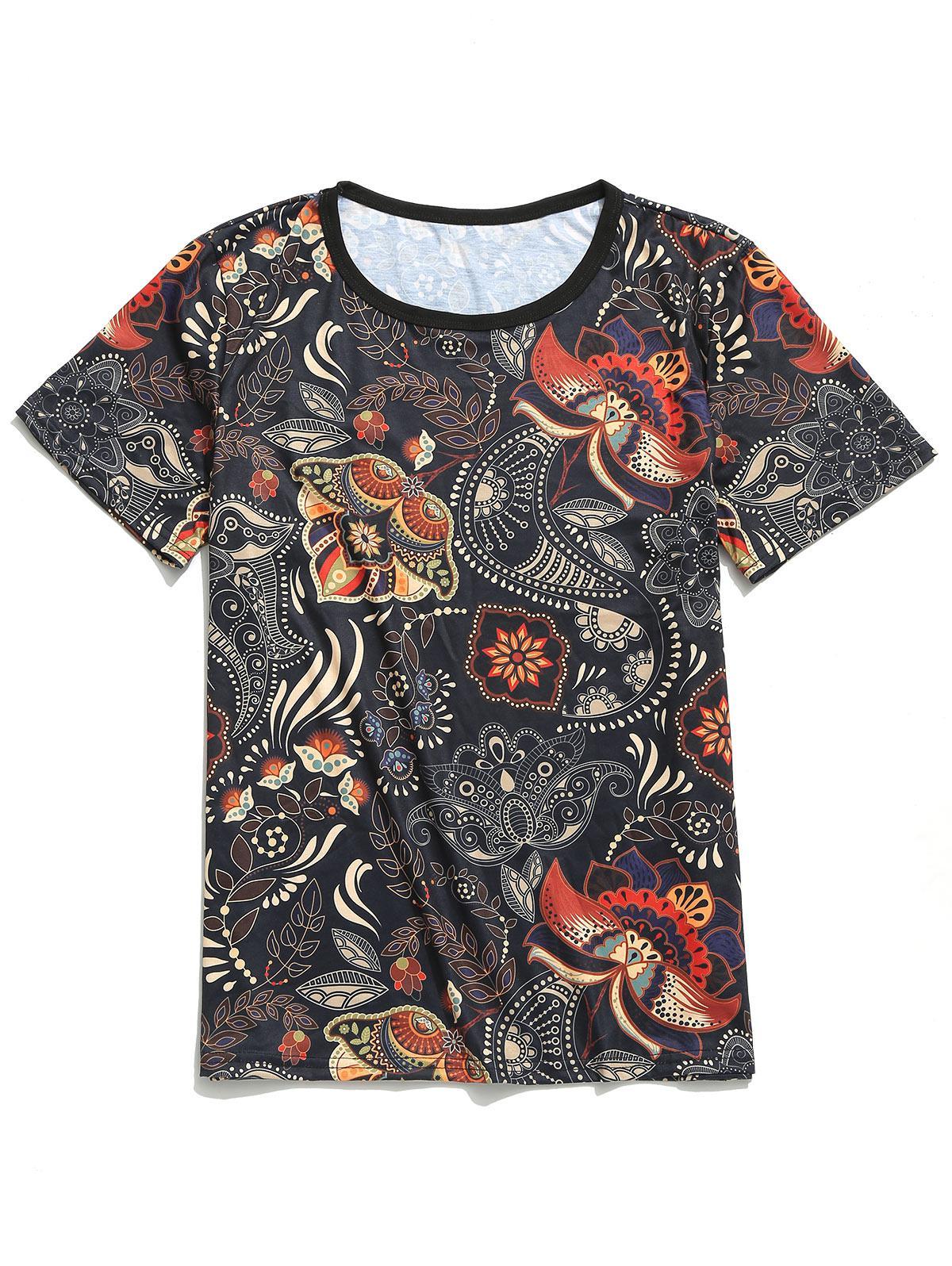 Maniche corte Tribale Paisley Stampa floreale T-shirt