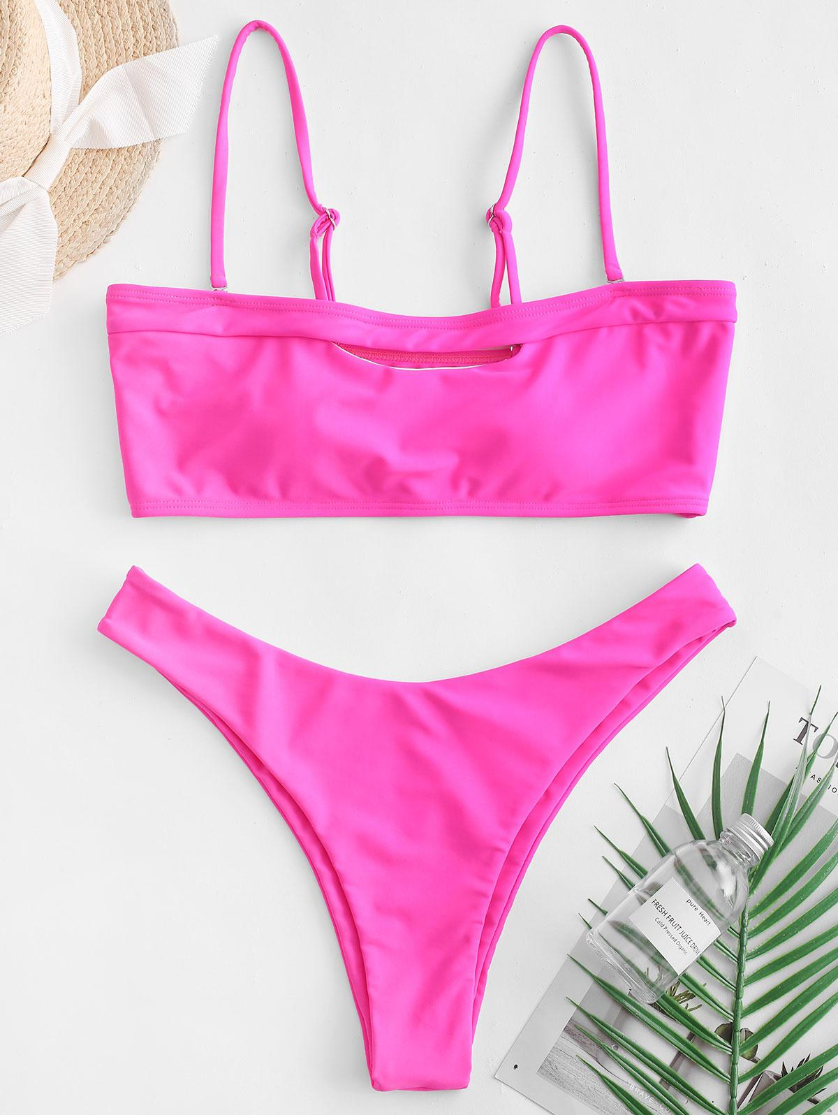 ZAFUL Cutout High Leg Boning Bandeau Bikini Swimsuit thumbnail
