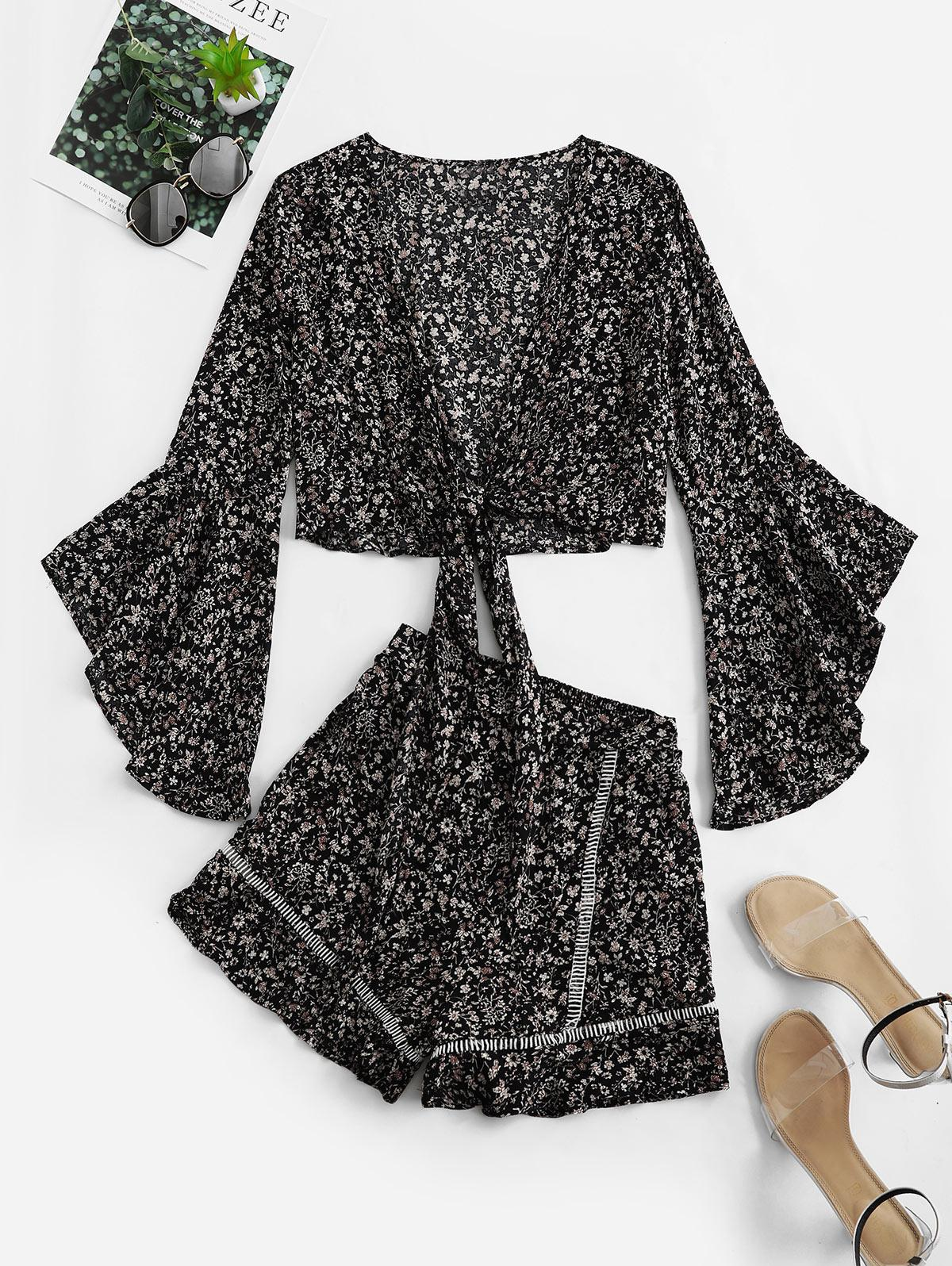 Flare Sleeve Knotted Floral Blouse and Flounce Shorts Set