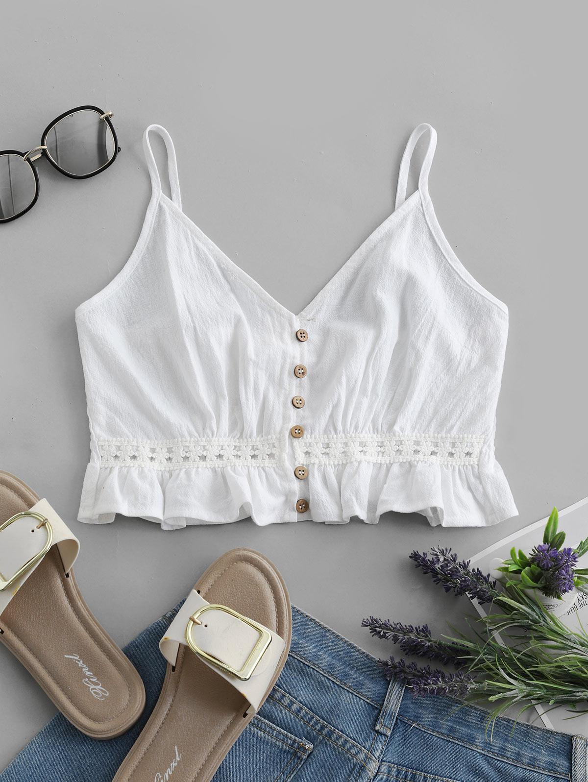 Button Up Crochet Panel Shirred Cami Top, White