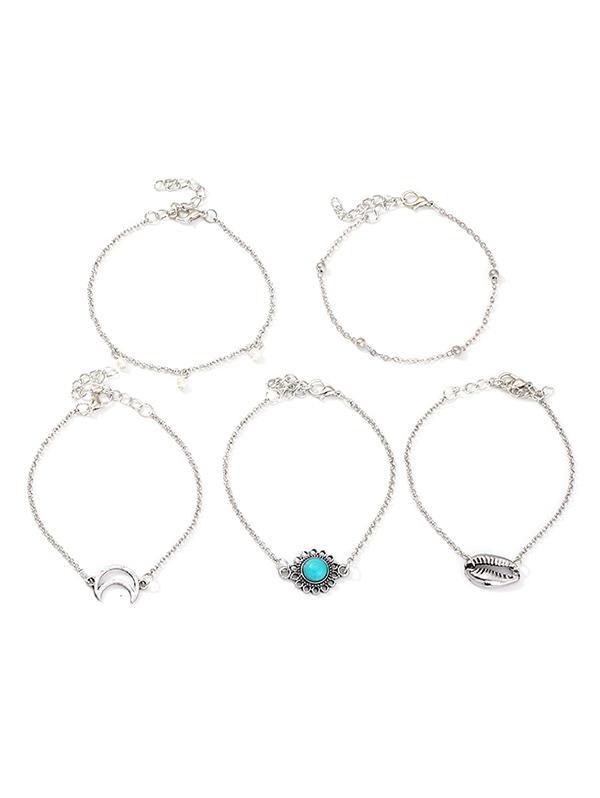 5Pcs Moon Shell Turquoise Bracelet Set