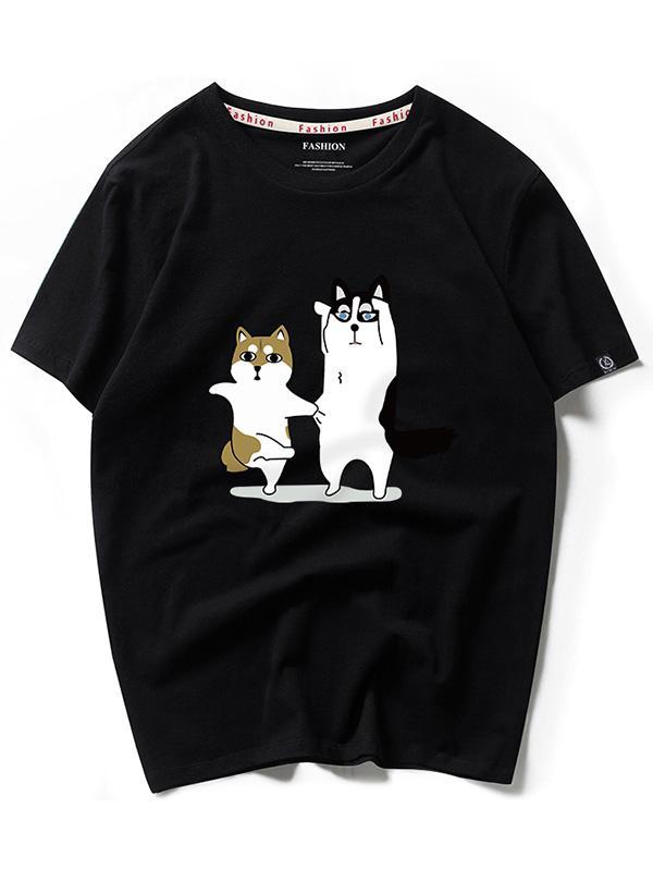 Dancing Husky Cartoon Print Casual T-shirt, Black