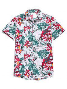 هاواي زهرة ورقة طباعة القميص الشاطئ عارضة - أبيض L