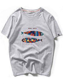 أكثر سعيدة الملونة الرسم الأسماك بأكمام قصيرة تي شيرت - سحابة رمادية M