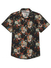 زهرة كل انحاء طباعة قميص بأكمام قصيرة زر - أسود M