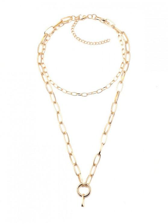 sale Double Layered Design Chain Necklace - GOLD