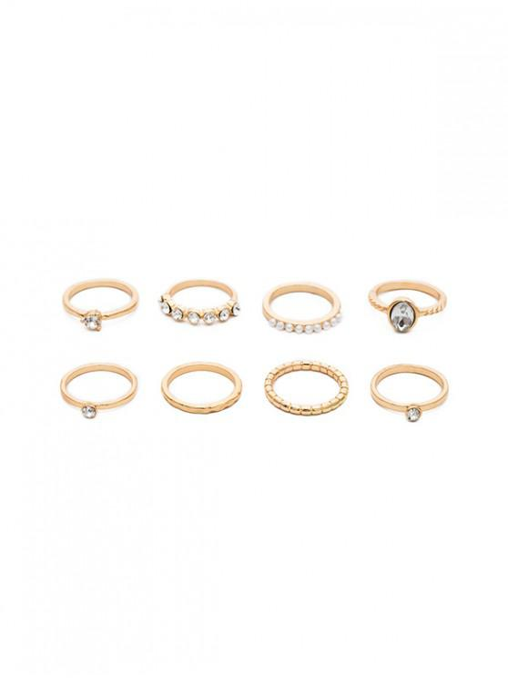 hot 7 Piece Artificial Pearl Faux Diamond Thin Ring Set - GOLD