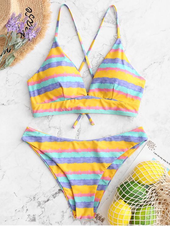 sale ZAFUL Rainbow Watercolor Lace Up Padded Bikini Swimwear - MULTI-A M