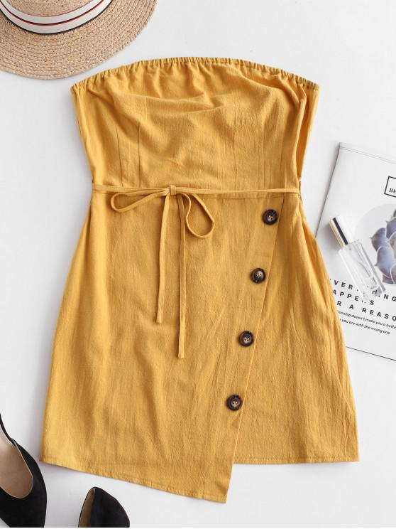 best Belted Buttoned Overlap Tube Dress - YELLOW S
