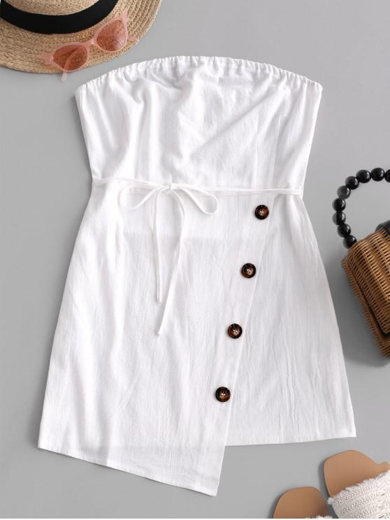 chic Belted Buttoned Overlap Tube Dress - WHITE S