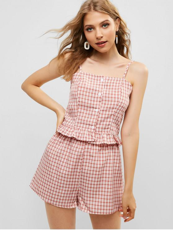 affordable Shirred Ruffle Plaid Two Piece Set - PINK M