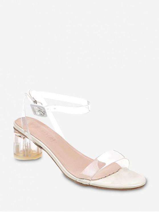 shop Transparent Mid Block Heel Sandals - TRANSPARENT EU 35