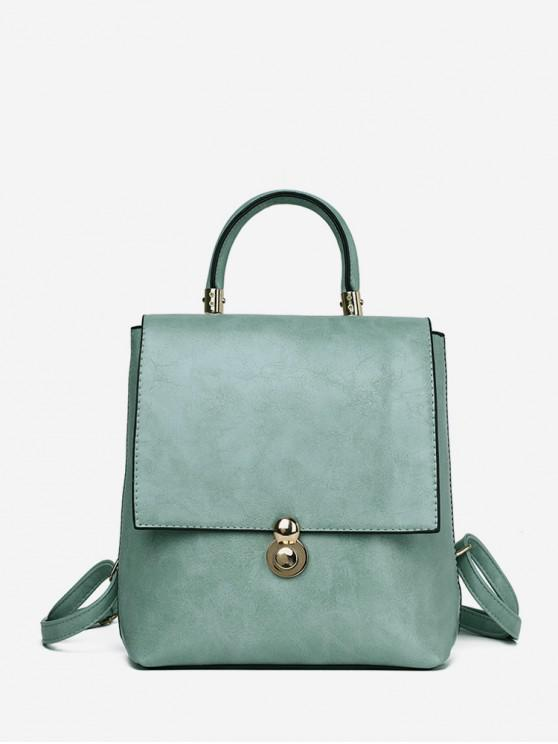 sale Solid Soft Leather Backpack - DARK SEA GREEN