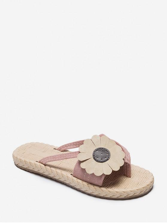 women Flat Toe Post Flower Decor Slides - PINK EU 38