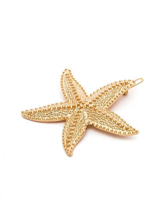 金屬海星形狀髮夾 - 金