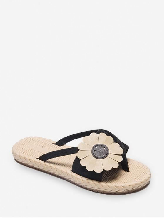 womens Flat Toe Post Flower Decor Slides - BLACK EU 37