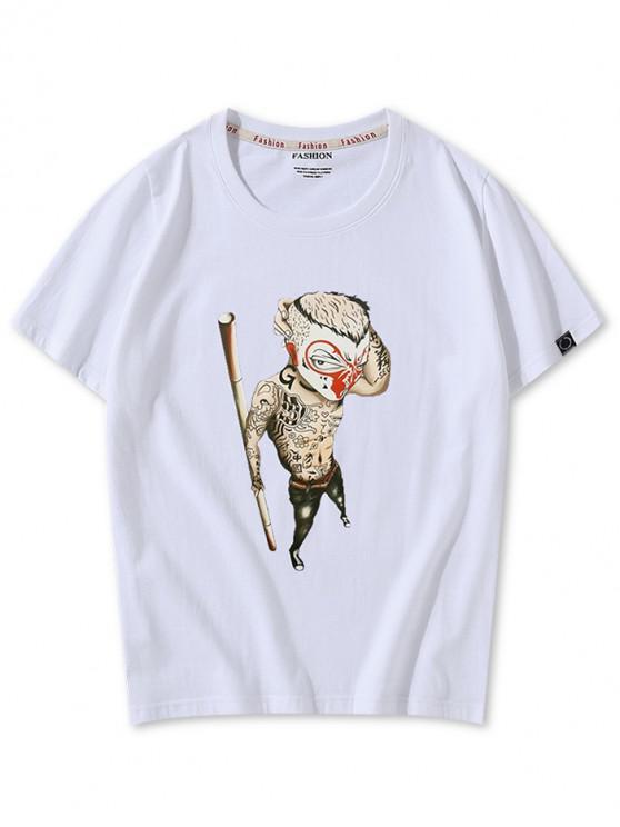 Mono chino de dibujos animados gráfico camiseta casual - Blanco XL