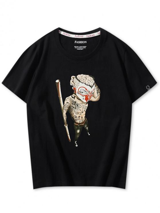 Mono chino de dibujos animados gráfico camiseta casual - Negro XS