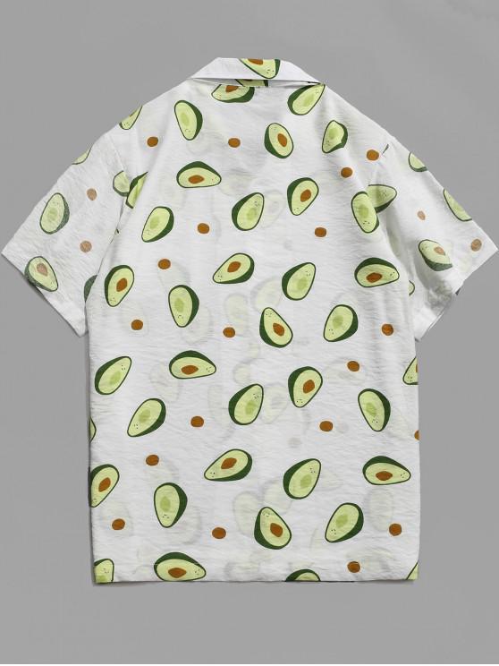M Chemise Plage Hawaïenne À Imprimé FruitsBlanc De Et Boutons ALqc34j5R
