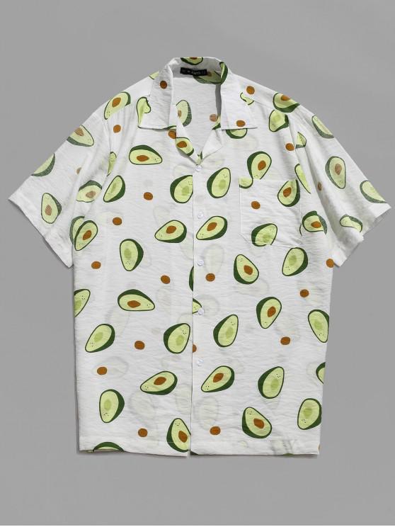 chic Fruit Avocado Print Button Hawaii Beach Shirt - WHITE M