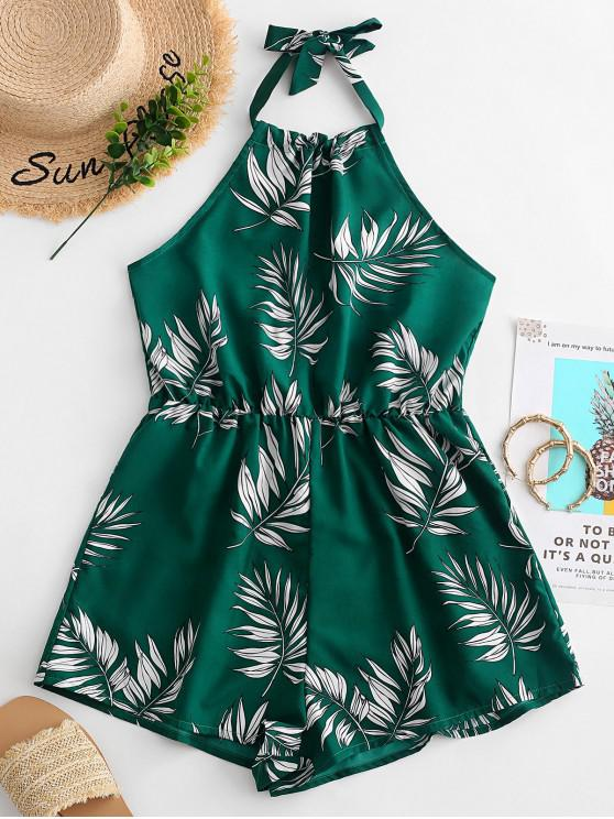 fashion ZAFUL Leaves Print Halter Wide Leg Romper - GREEN L