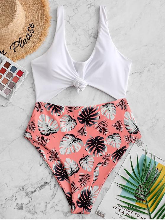ملابس السباحة ZAFUL Knot Palm Leaf Cutout من قطعة واحدة - سلمون خفيف XL