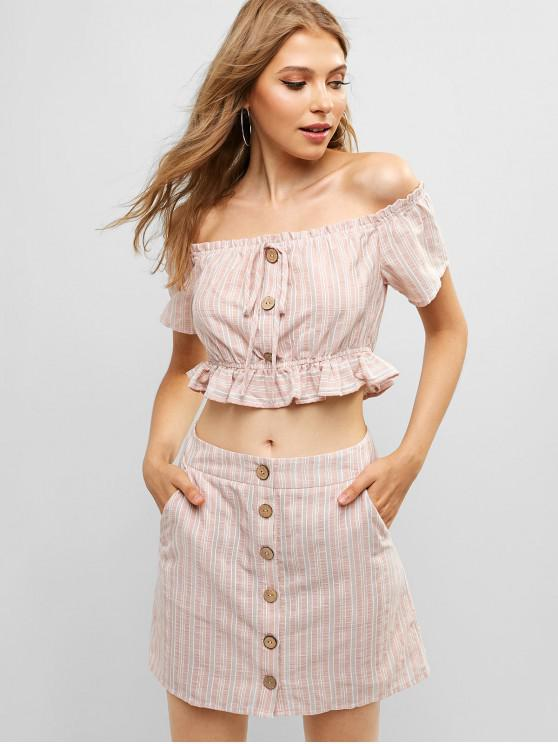 chic ZAFUL Buttons Ruffled Striped Two Pieces Skirt Suit - ROSE S
