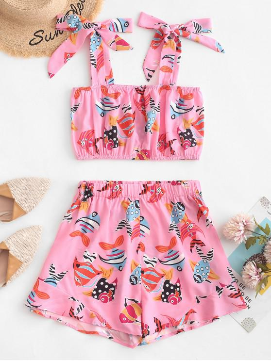 women's ZAFUL Tied Straps Goldfish Top And Shorts Set - PINK S