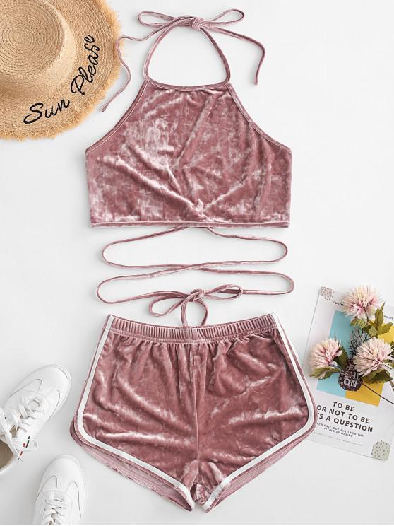 ZAFUL Backless Velvet Wrap Two Pieces Suit - Rosa M