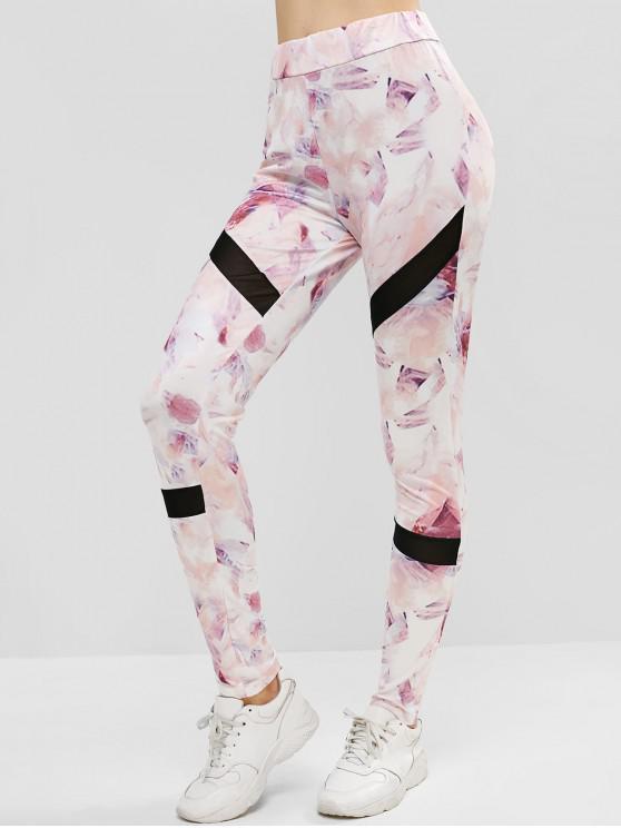 Leggings impressos cintura alta dos esportes do painel de malha - Rosa de Porco XL