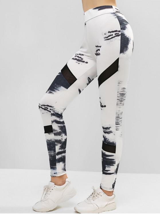 womens High Waisted Mesh Panel Printed Sports Leggings - WHITE M