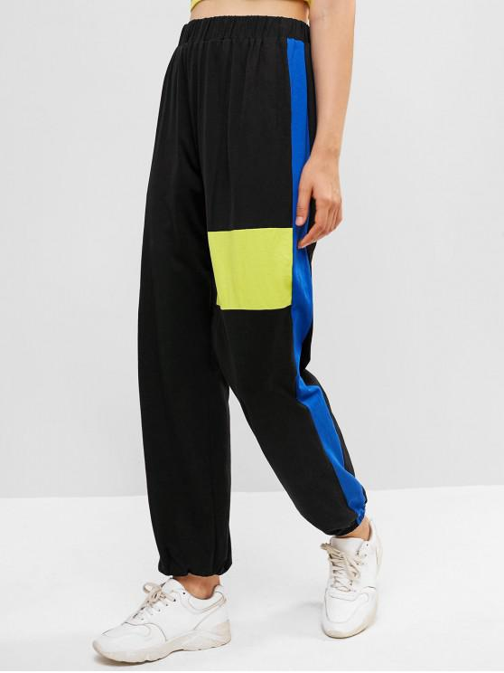 best ZAFUL High Waisted Color Block Jogger Pants - BLACK L
