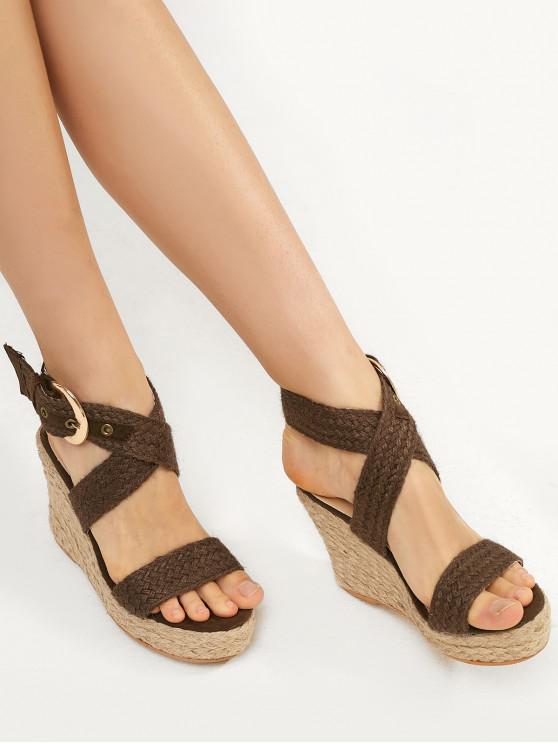 latest Braided Cross Strap Wedge Heel Espadrille Sandals - BROWN EU 35