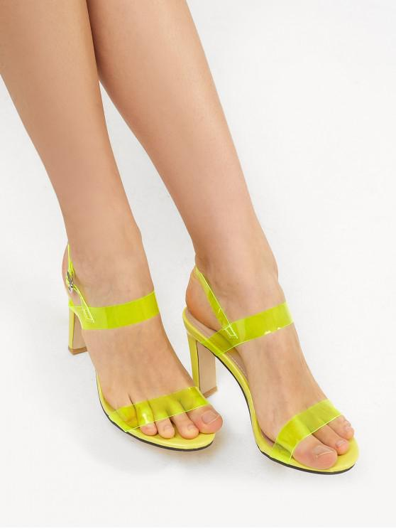 best Neon PVC Ankle Strap Stiletto Heel Sandals - TEA GREEN EU 37