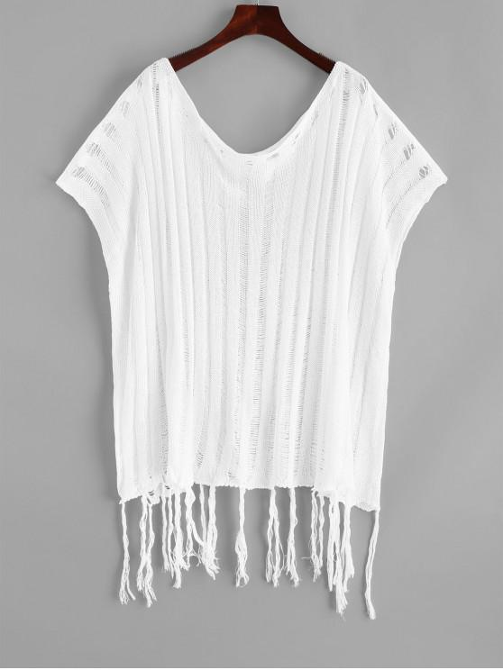 women Crochet Batwing Sleeve Tassel Cover Up Top - WHITE ONE SIZE