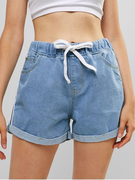 Pantaloncini di jeans con lacci con risvolto - Blu Denim M