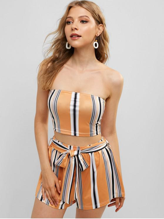 outfits ZAFUL Multi Striped Bandeau Two Piece Set - MULTI S