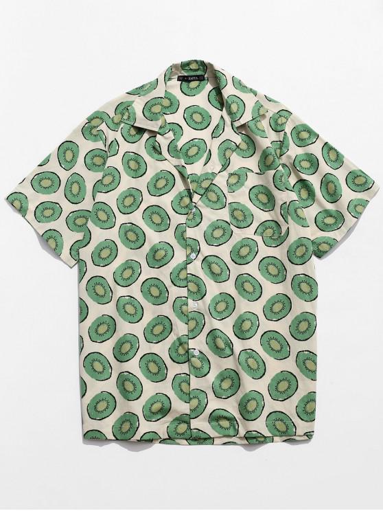 Camicia casual bottoni stampa Kiwi - Bianco caldo XL