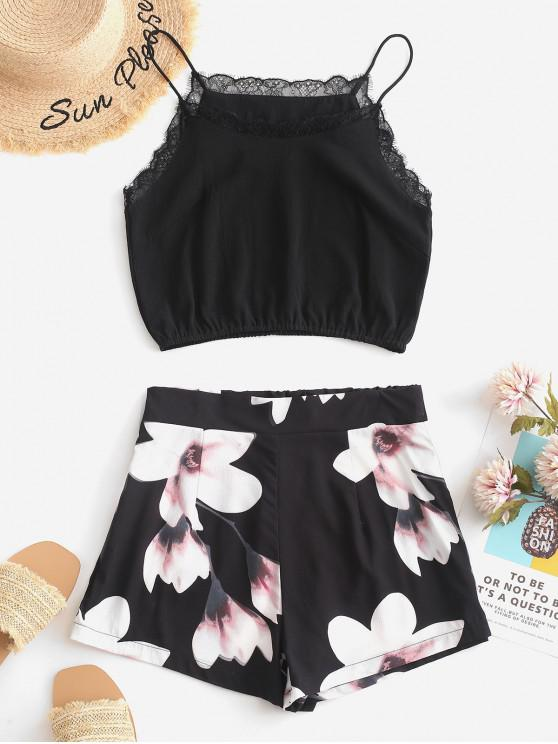 outfits ZAFUL Lace Panel Flower Crop Two Pieces Suit - BLACK XL