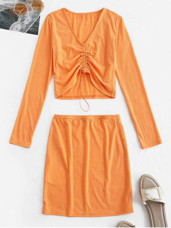 outfit ZAFUL Cinched Long Sleeve Ribbed Two Piece Dress Set - PAPAYA ORANGE M