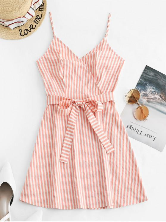 best ZAFUL Striped Cami Wrap Dress - DEEP PEACH XL