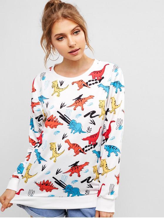 shops ZAFUL Colored Dinosaur Print Funny Sweatshirt - WHITE M