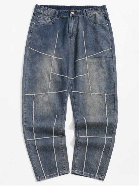 women's Long Embroidery Geometric Design Straight Jeans - MIST BLUE 36