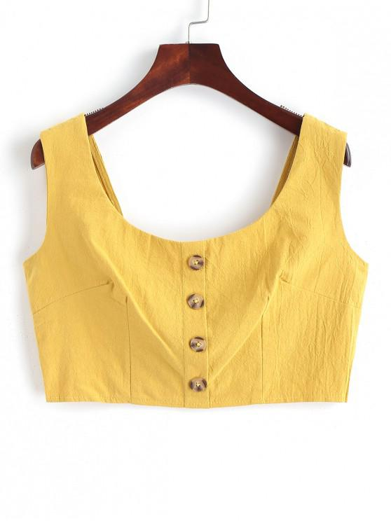 sale Smocked Back Buttons Crop Tank Top - SUN YELLOW S