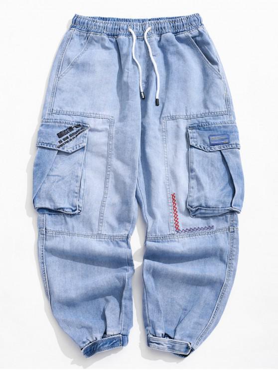 buy Side Flap Pocket Letter Embroidery Applique Jogger Jeans - DENIM BLUE 36