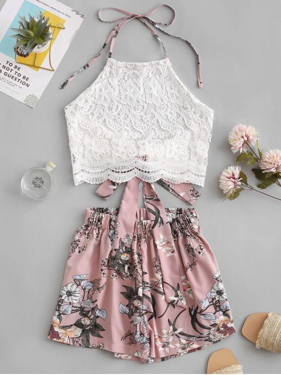 shops Lace Panel Floral Wide Leg Two Pieces Suit - MULTI XL
