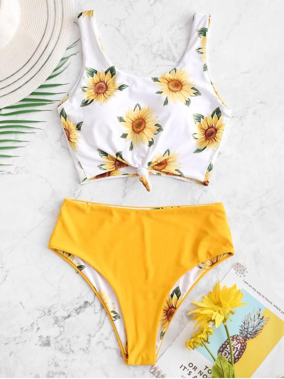women ZAFUL Sunflower Knot Reversible Tankini Swimsuit - BRIGHT YELLOW L