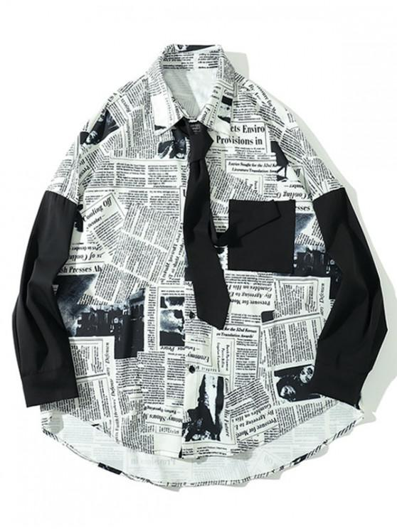 lady High Low Newspaper Print Pocket Drop Shoulder Shirt with Tie - WHITE 2XL