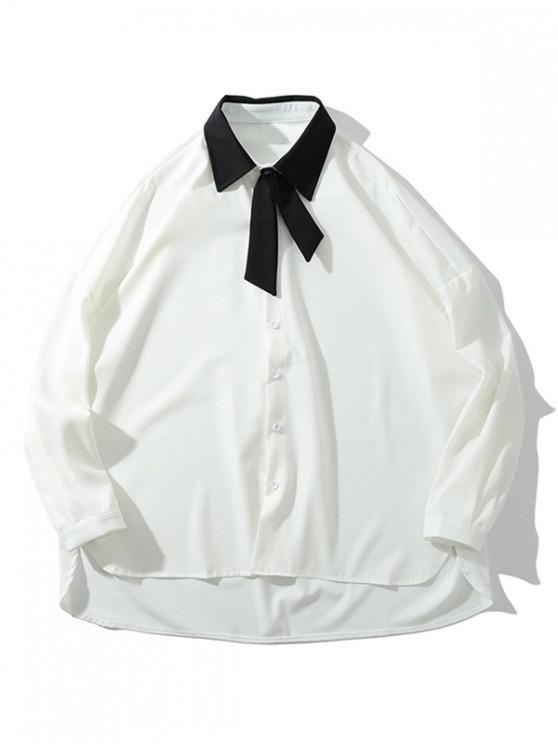 Camicia spalla a goccia a goccia bassa con colletto rovesciato color block - Bianca M