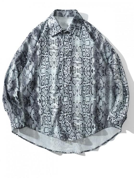 trendy High Low Snake Print Drop Shoulder Button Shirt - GRAY 2XL